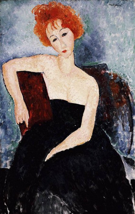 Modigliani Young Redhead in an Evening Dress, 1918, Barnes. Amedeo Modigliani