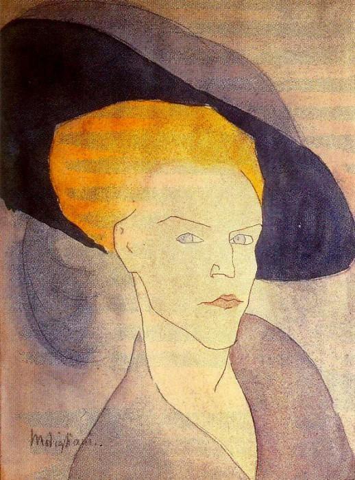 Голова женщины в шляпе, 1907. Амедео Модильяни