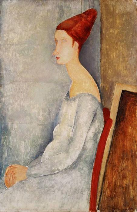 Сидящая Жанна Эбютерн в профиль, 1918. Амедео Модильяни