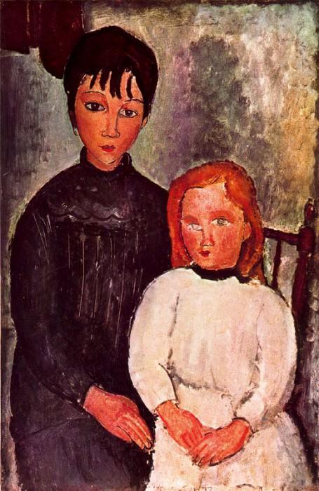 Двое детей (1918). Амедео Модильяни