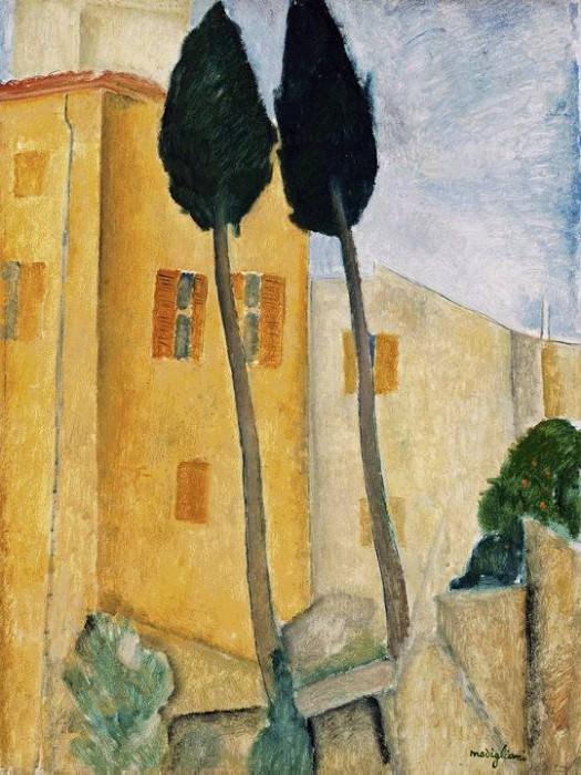 Кипарисы и дома, 1919. Амедео Модильяни