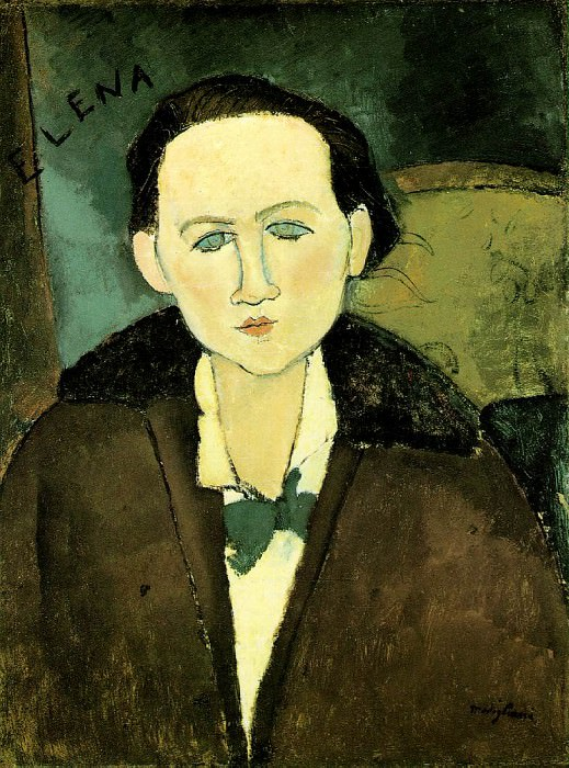 Modigliani Elena Pavlowski, 1917, 64.8x48.9 cm, The Phillips. Amedeo Modigliani