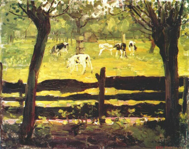 calves in a field bordered by willow trees c1904. Piet Mondrian