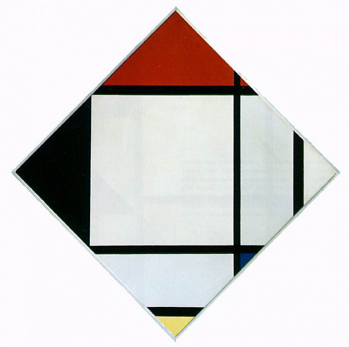 Lozenge Composition with Red, Black,Blue and Yellow. Piet Mondrian