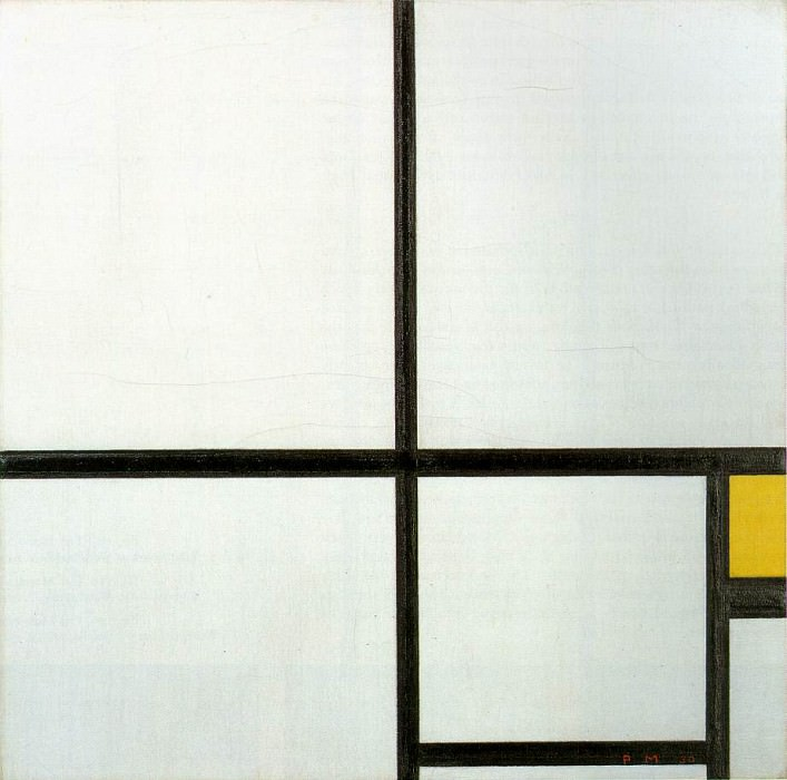 Composition with yellow patch, 1930, 46x46.5 cm, Ku. Piet Mondrian
