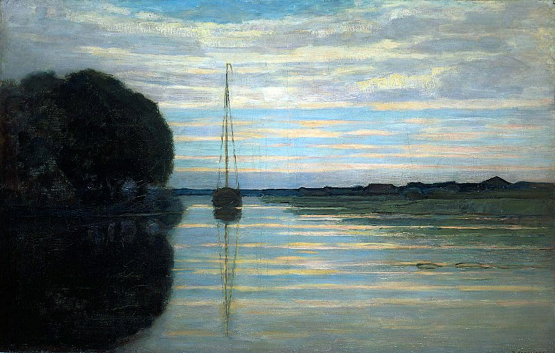 Piet River view with a boat. Piet Mondrian