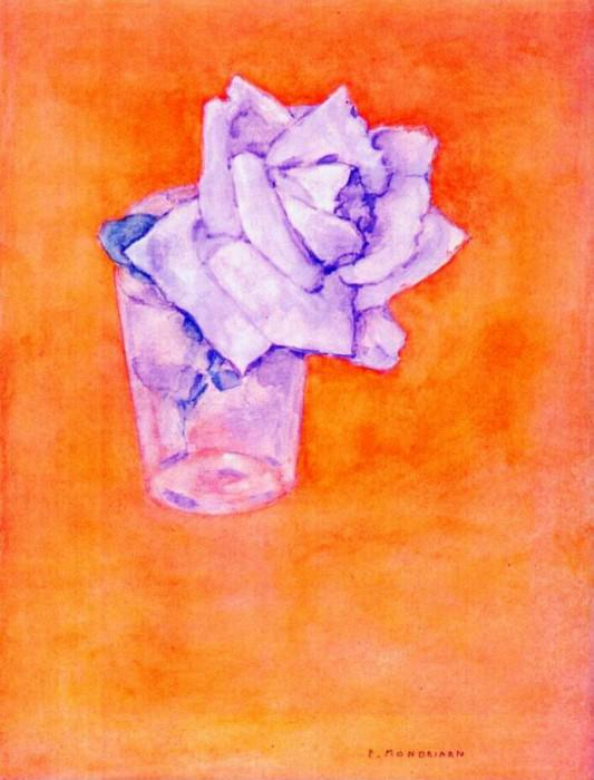 white rose in a glass after-1921. Piet Mondrian