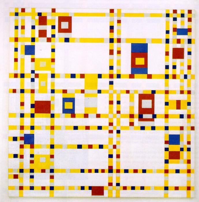Broadway Boogie Woogie, 1942-43, 127x127 cm,. Piet Mondrian