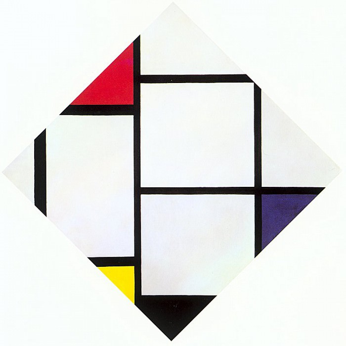 1924-25 Lozenge Composition with Red, Gray, Blue, Yellow, and Black. Piet Mondrian