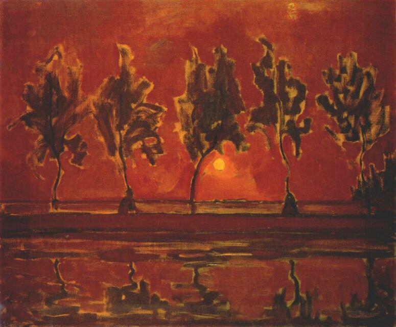 Деревья у Гейна при восходе луны, 1907-08. Пит Мондриан