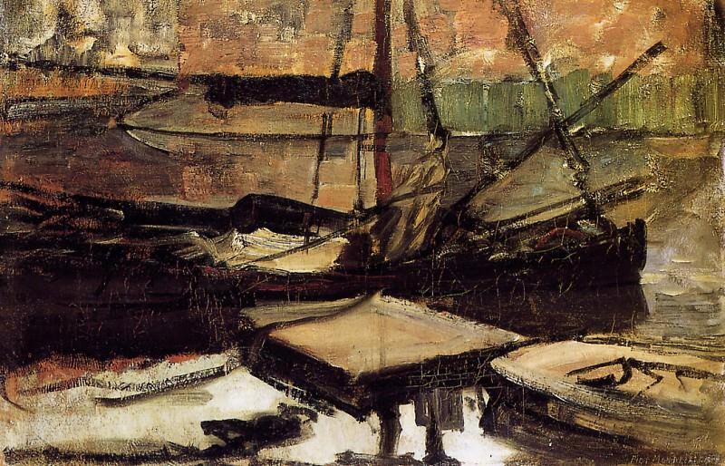 Piet Moored ships. Piet Mondrian