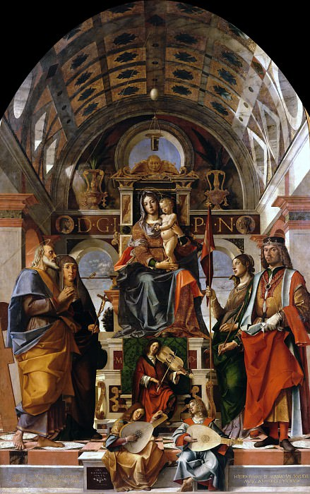 Madonna and Child with Saints Andrew, Monica, Ursula, and Sigismund. Bartolomeo Montagna