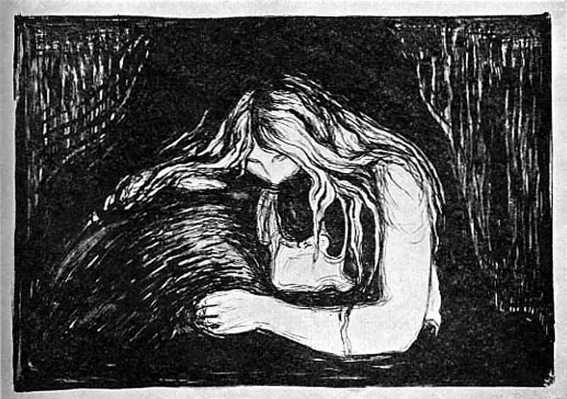 Вампир, литография. Эдвард Мунк