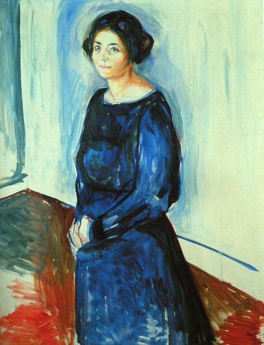 Woman in Blue (Frau Barth), 1921, oil on canvas, priva. Edvard Munch
