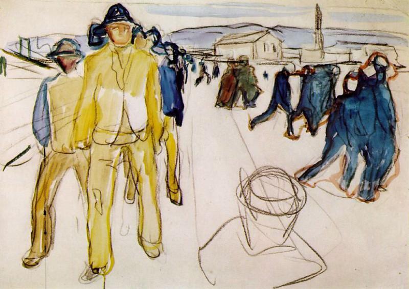 Рабочие, возвращающиеся домой, после 1916, акварель. Эдвард Мунк