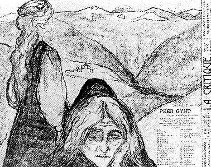 Сольвейг и мамть Аазе, 1896, литография. Эдвард Мунк