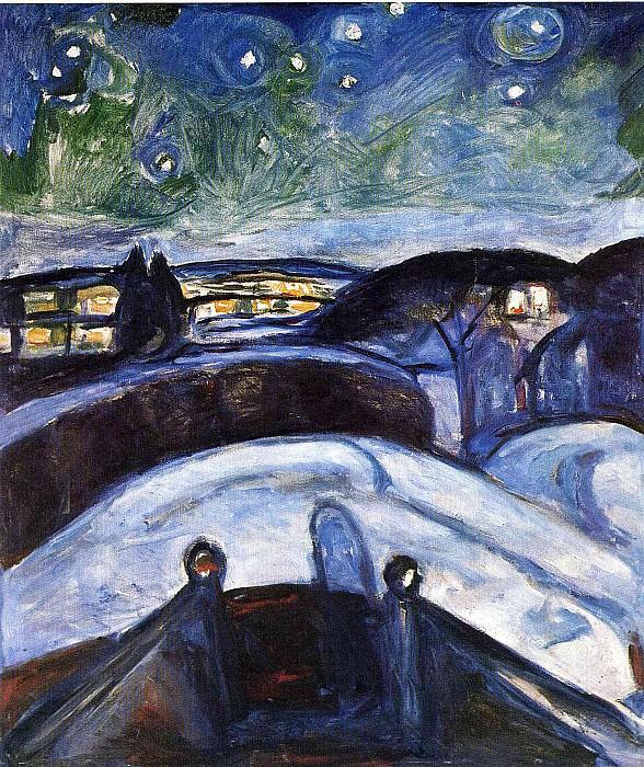 Звездная ночь, 1923-24. Эдвард Мунк