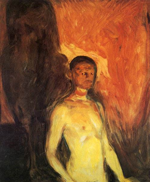 SJALVPORTRATT I HELVETET OSLO, MUNCH MUSEET. Edvard Munch