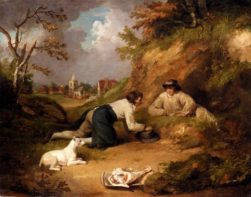 Два охотника на кроликов с собакой и деревня на заднем плане. Джордж Морланд