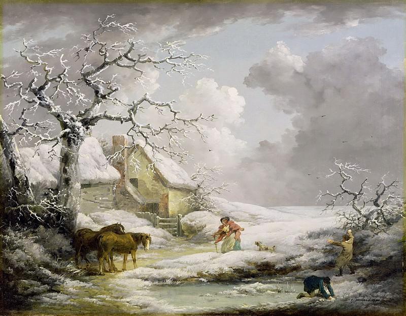 Пейзаж с мужчинами, бросающими снежки в старую женщину. Джордж Морланд