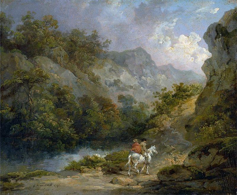 Скалистый пейзаж с двумя мужчинами на лошади. Джордж Морланд