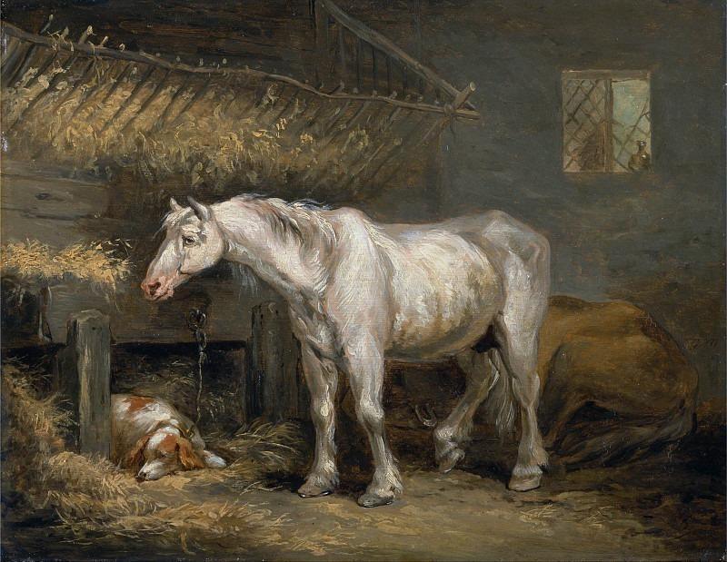 Старые лошади с собакой в конюшне. Джордж Морланд
