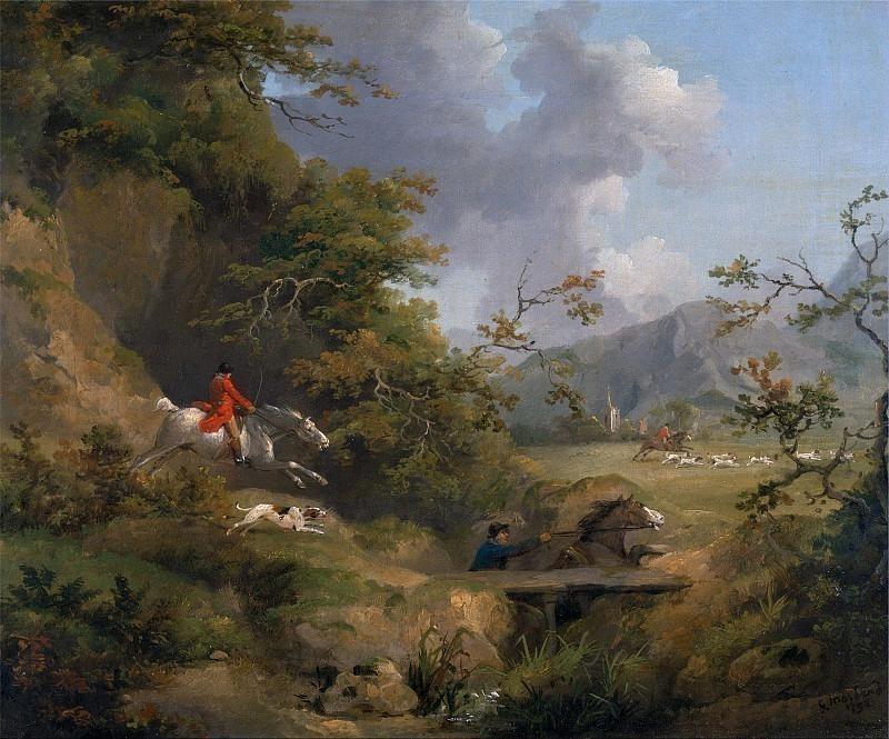 Охота на лис в холмистой местности. Джордж Морланд