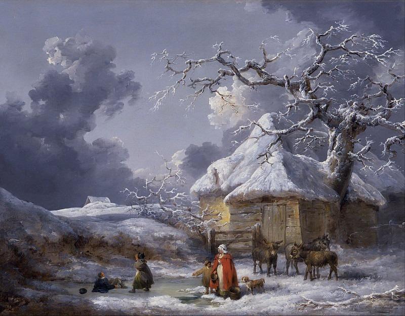 Зимний пейзаж с фигурами людей. Джордж Морланд