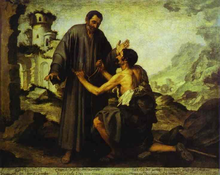 Brother Juniper and the Beggar. Bartolome Esteban Murillo