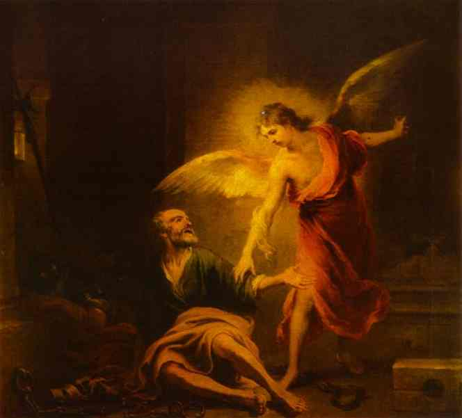 Angel Rescues St. Peter from Prison. Bartolome Esteban Murillo