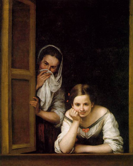 Two Women at a Window ca 1670, NG Washington. Bartolome Esteban Murillo