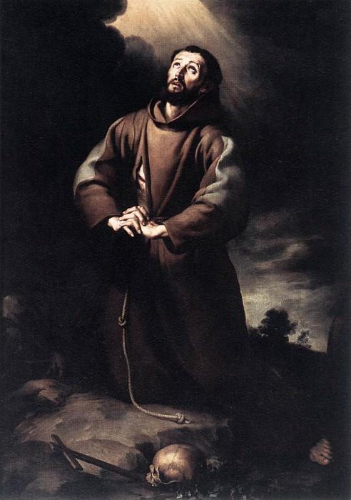 St Francis of Assisi at Prayer. Bartolome Esteban Murillo
