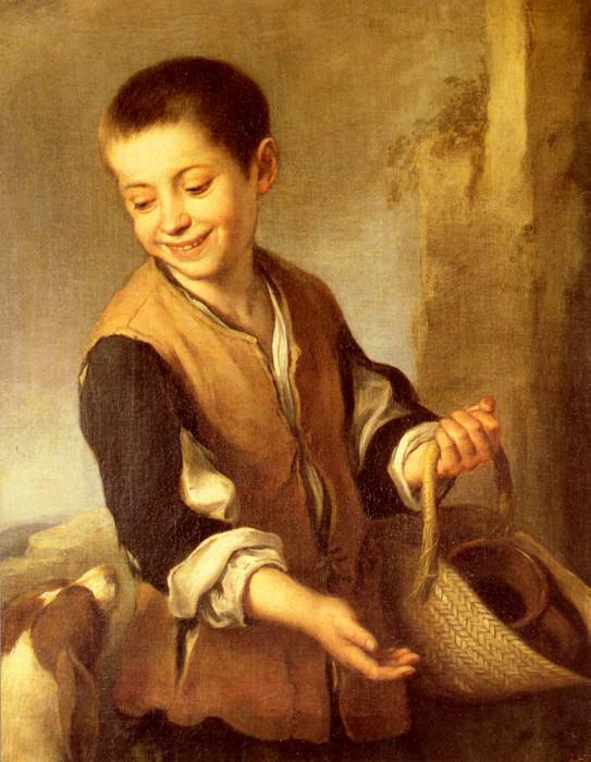 Мальчик с собакой и корзиной. Бартоломе Эстебан Мурильо