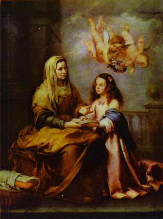 Childhood of Virgin. Bartolome Esteban Murillo