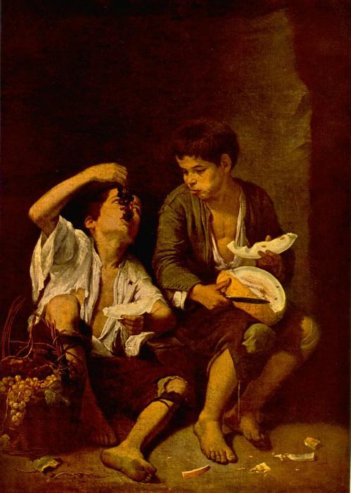 Boys Eating Fruit (Grape and Melon Eaters), ca 1670,. Bartolome Esteban Murillo