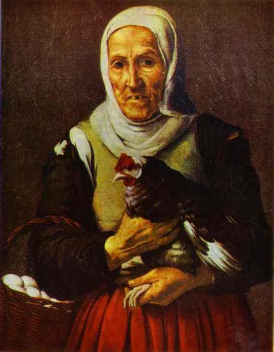 Старая женщина с петухом. Бартоломе Эстебан Мурильо