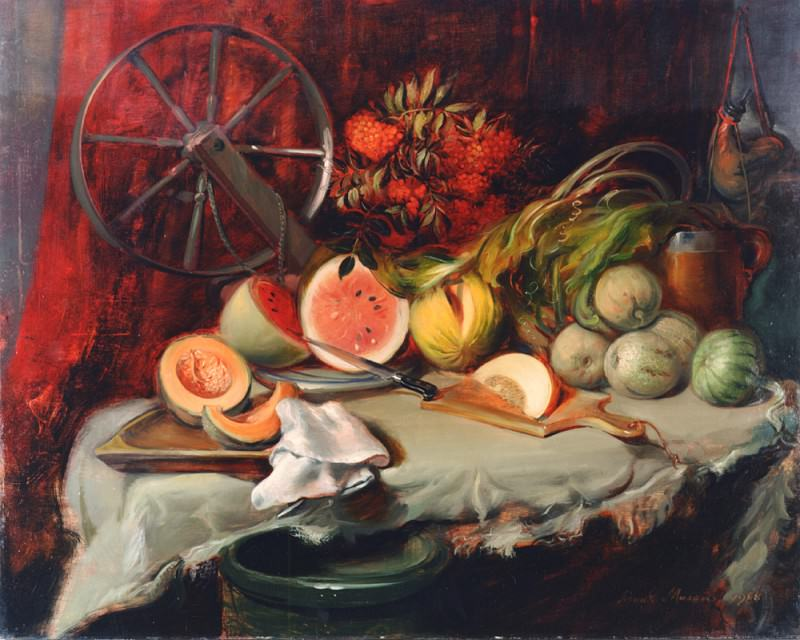 MELONS oil on canvas 48H by 60W. Frank Mason