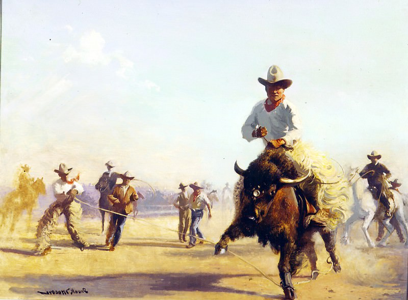WYOMING RODEO oil on canvas 37H by 48W. Frank Mason