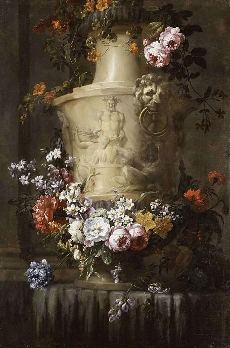 Мраморная ваза с гирляндой цветов. Жан-Батист Моннойер