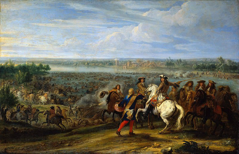 French army at Lobith. Adam Frans Van der Meulen