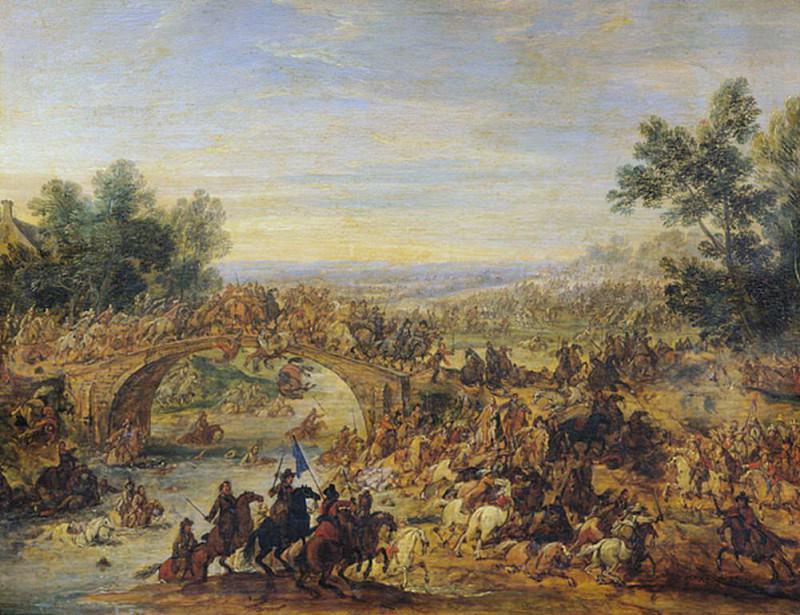 Cavalry Battle on a Bridge. Adam Frans Van der Meulen