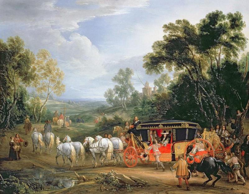 Louis XIV (1638-1715) in his state coach. Adam Frans Van der Meulen