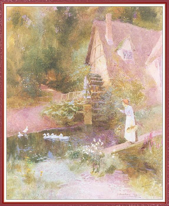 Девушка и утки около водяной мельницы. Томас Макей