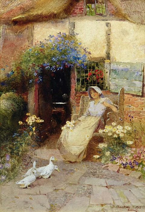 At the Cottage Door. Thomas Mackay