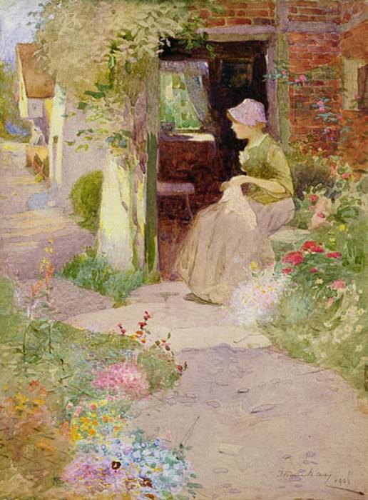 A Girl Sewing at the Door of a Cottage. Thomas Mackay