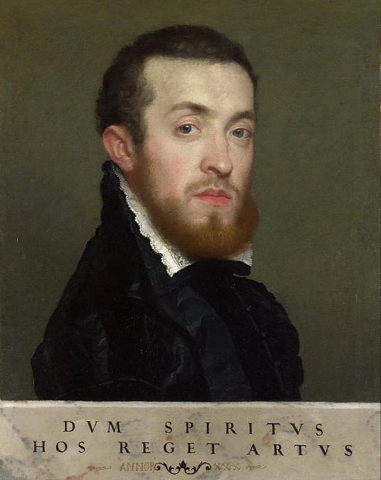 Bust Portrait of a Young Man with an Inscription. Giovanni Battista Moroni