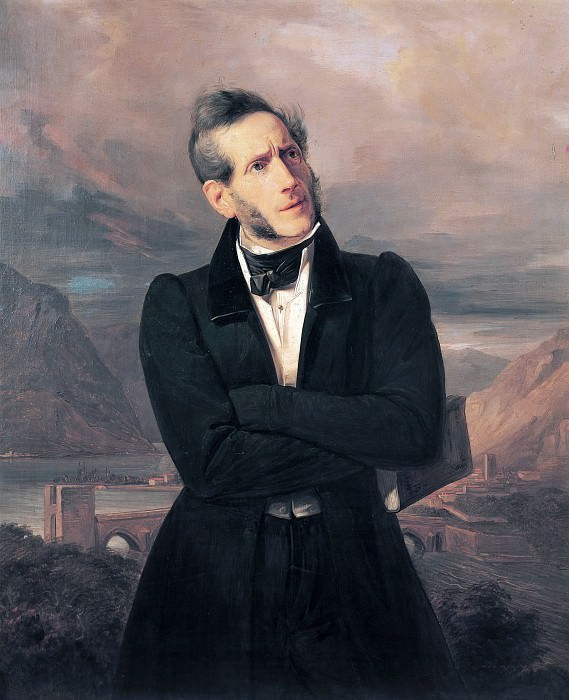 Portrait of Alessandro Manzoni with views of Lecco. Giuseppe Molteni