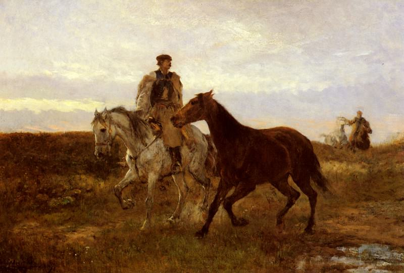 Lieb Leading The Horses Home At Sunset. Michel (Mihaly) Lieb Munkacsy