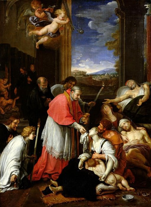 St. Charles Borromeo (1538-1584) Administering the Sacrament to Plague Victims in Milan in 1576. Pierre Mignard