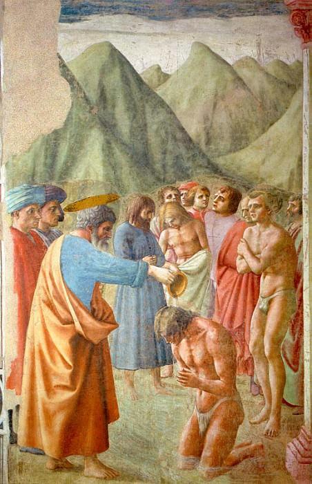 Baptism of the Neophytes, 1426-27, fresco, Brancacc. Tommaso Masaccio